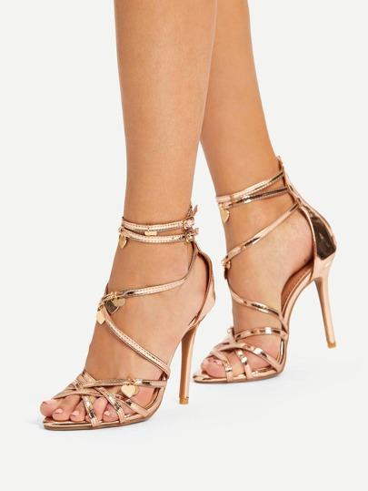 Romwe / Sequin Charm Detail Back Zipper PU Heels