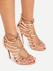 Back Zipper Cut Out PU Heeled Sandals