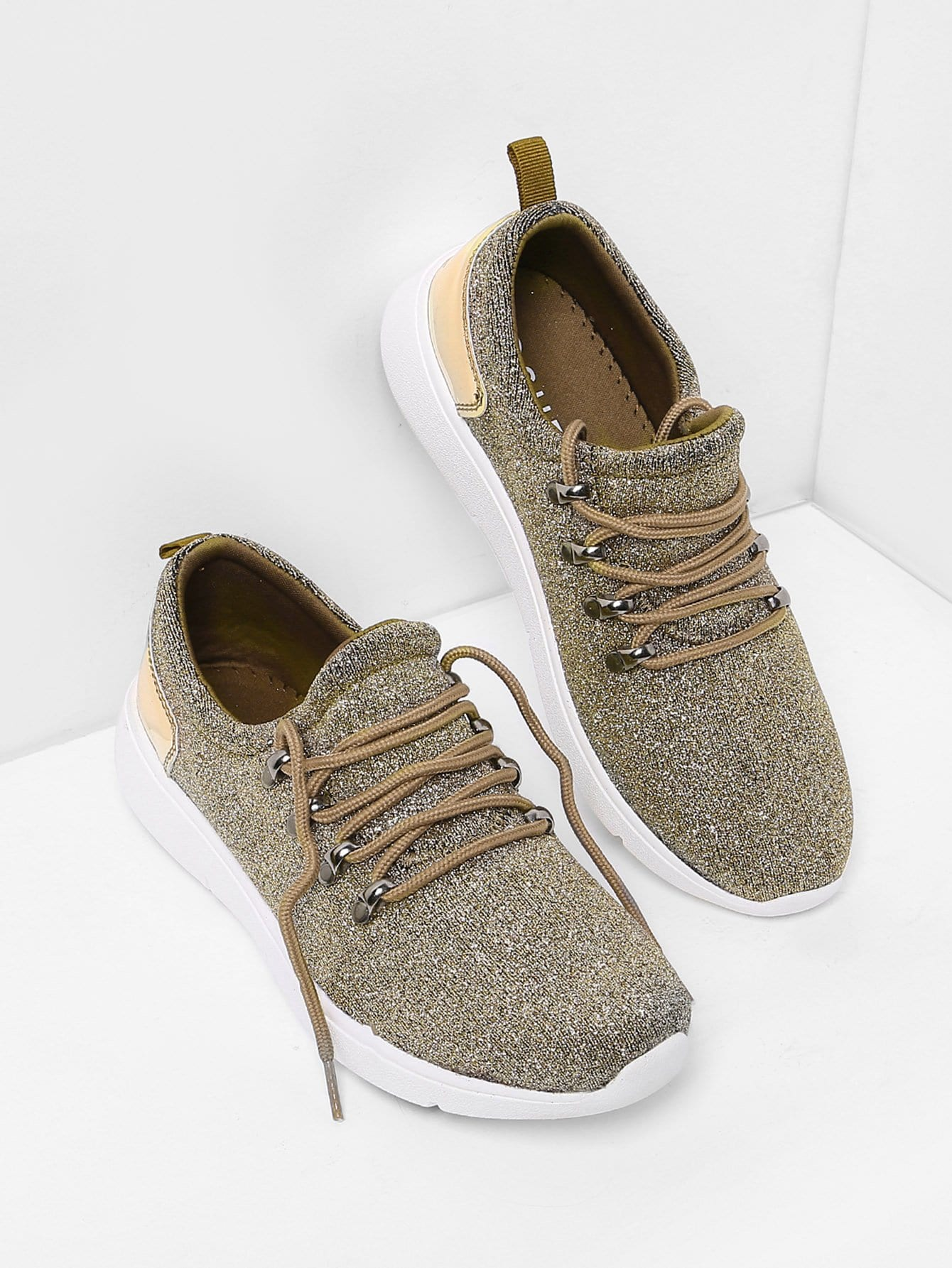 Lace Up Glitter Trainers woven detail lace up trainers