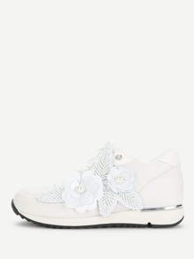 Flower Applique Beaded Detail Sneakers