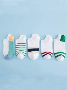Striped Invisible Socks 5Pairs