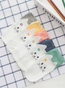 Cat Pattern Socks 5Pairs
