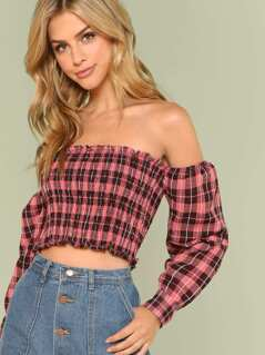 Plaid Print Smocked Off Shoulder Blouse