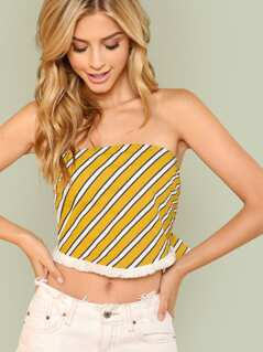Self Tie Stripe Bandeau Top