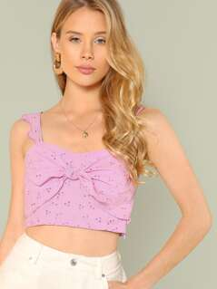 Eyelet Self Tie Crop Top