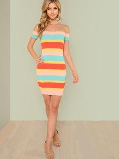 Ribbed Knit Stripe Print Bardot Bodycon Dress