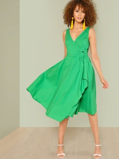Neon Lime O-Ring Belted Overlap Surplice Dress