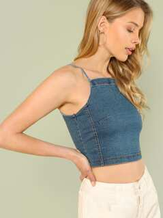 Denim Halter Neck Crop Top
