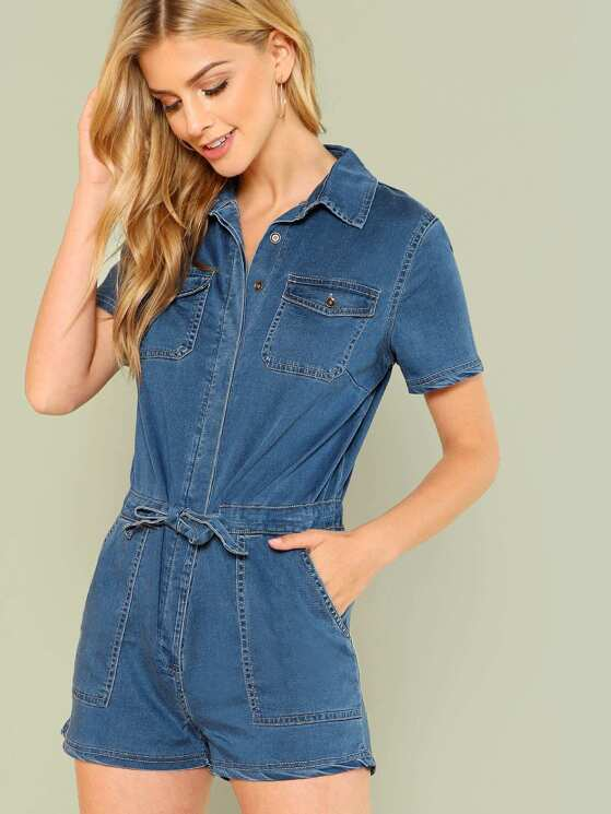 23e339c079b Denim Button Up Collared Romper