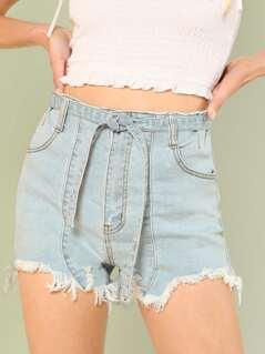 Light Washed Frayed Hem Denim Shorts with Tie Waist