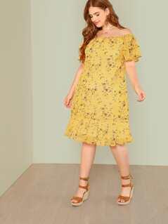 Plus Floral Print Ruffle Trim Bardot Midi Dress