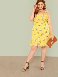 Plus Floral Print Ruffle Midi Dress