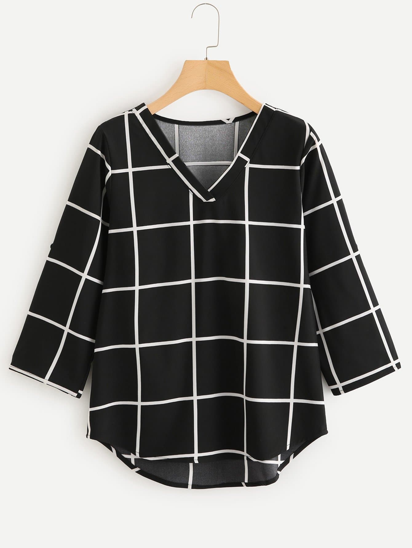 High Low Curved Hem Plaid Blouse striped high low curved hem top
