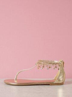 T-Strap Jewel Embellished Sandal