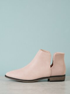 Perforated Split Shaft Almond Toe Bootie