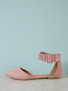 Buckled Ankle Strap Ballerina Flat