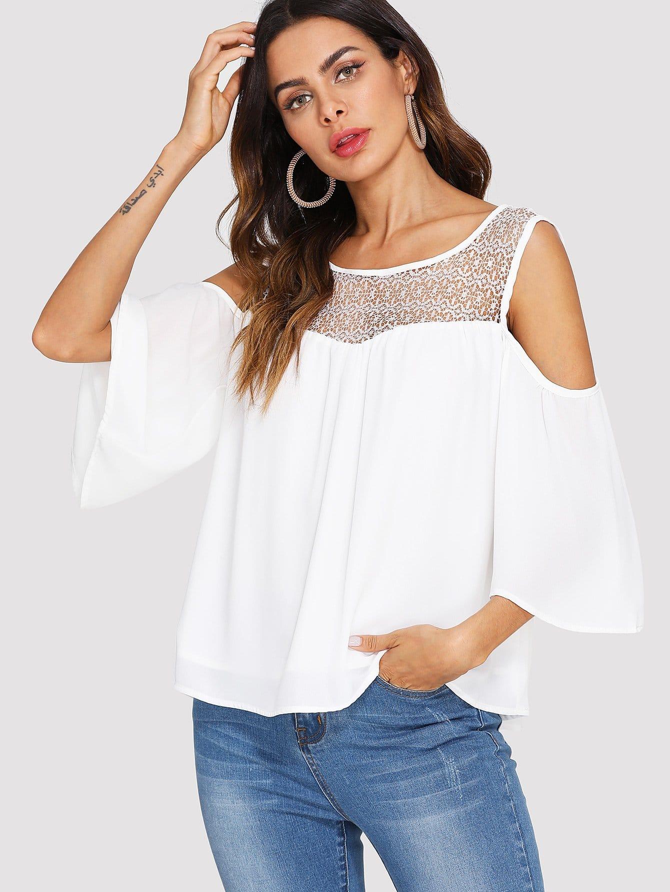 Open Shoulder Lace Panel Top open shoulder mesh panel top