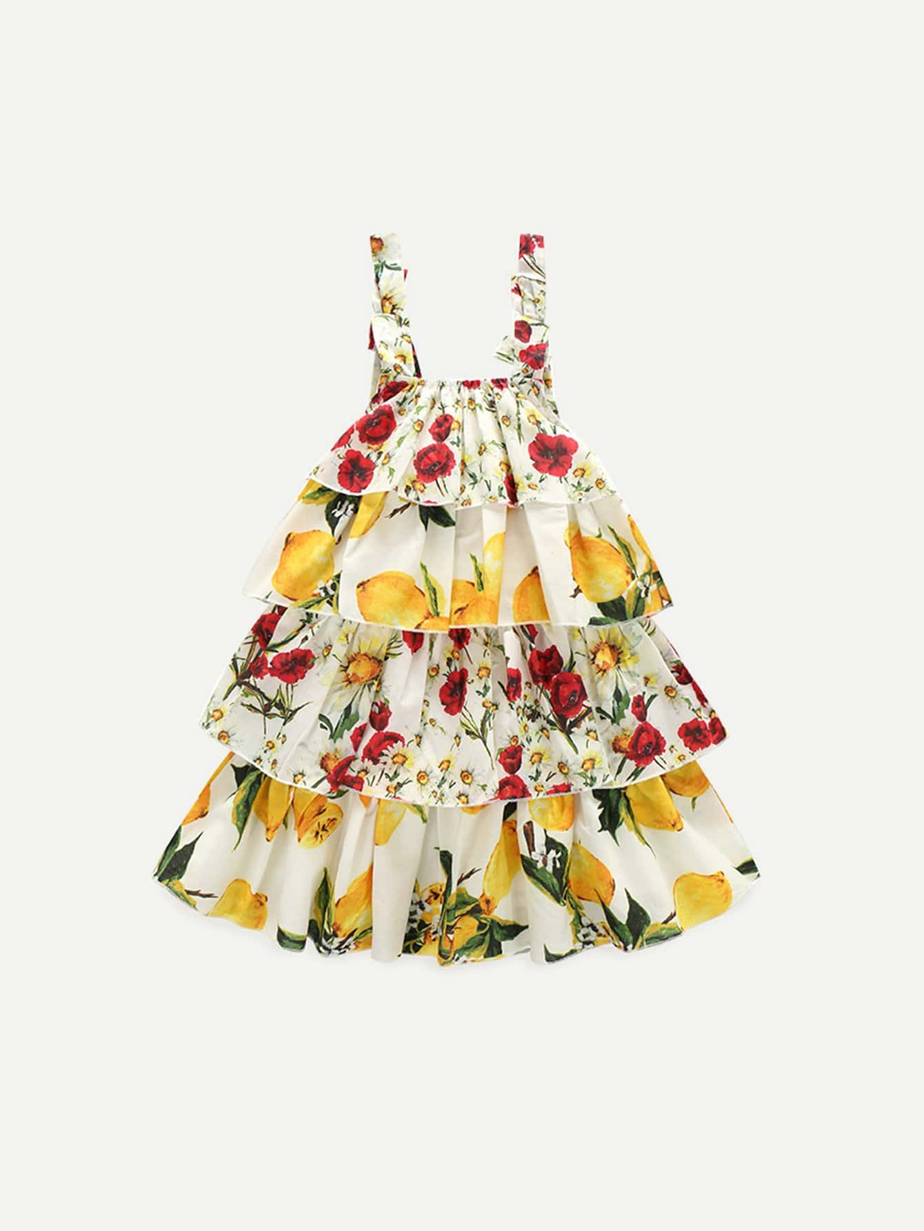 Girls Floral Print Tiered Layer Cami Dress leaves print backless tiered layer cami dress