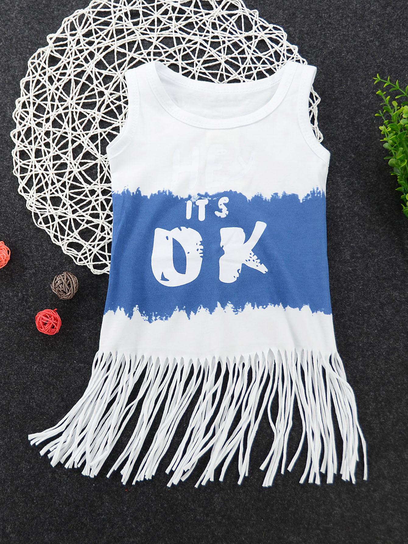 все цены на Girls Letter Print Fringe Hem Dress
