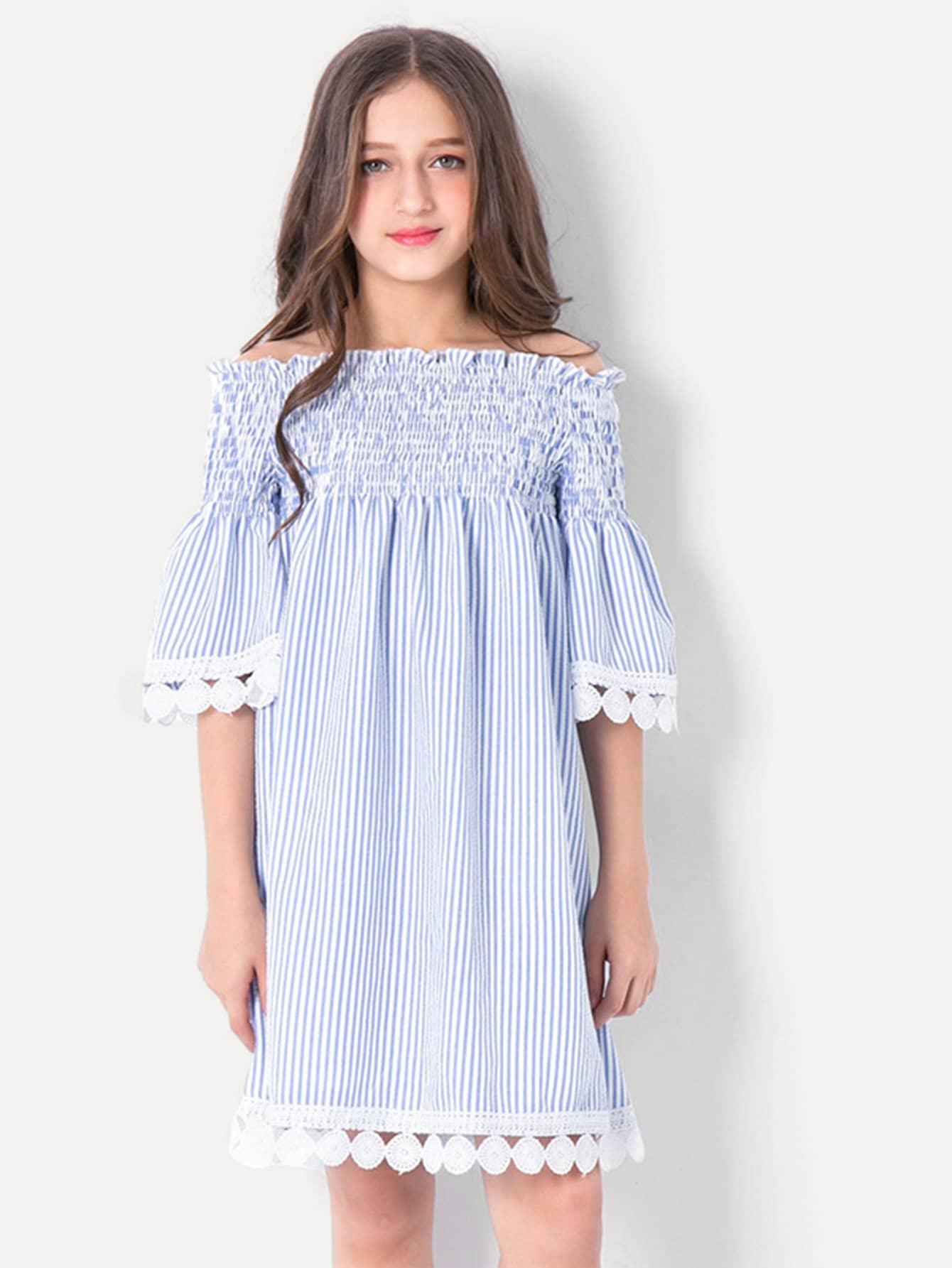 Купить Платье с полосками и открытыми плечами для девочек, null, SheIn