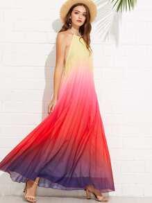 Backless Knot Back Halter Dress