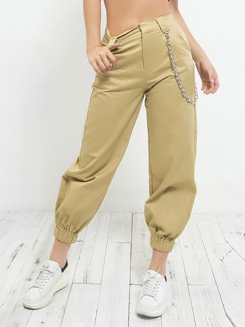 Chain Detail Tapered Leg Pants cutout knees tapered leg joggers