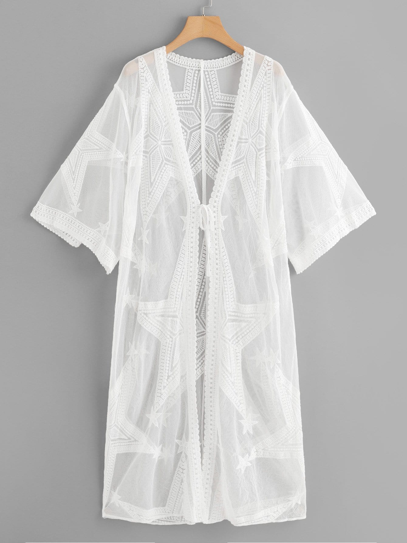 Lace Star Embroidery Sheer Mesh Panel Kimono star sequin sheer mesh top