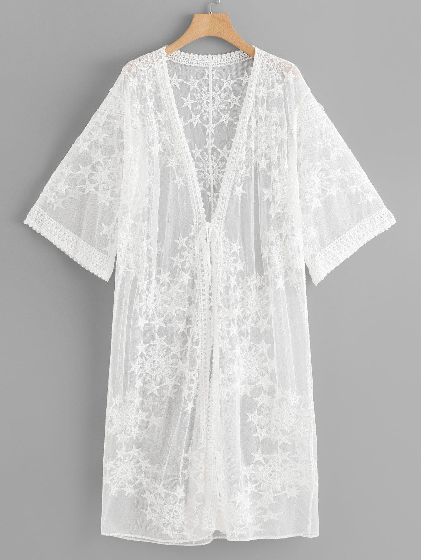 Lace Floral Embroidery Sheer Mesh Panel Kimono floral lace sheer top