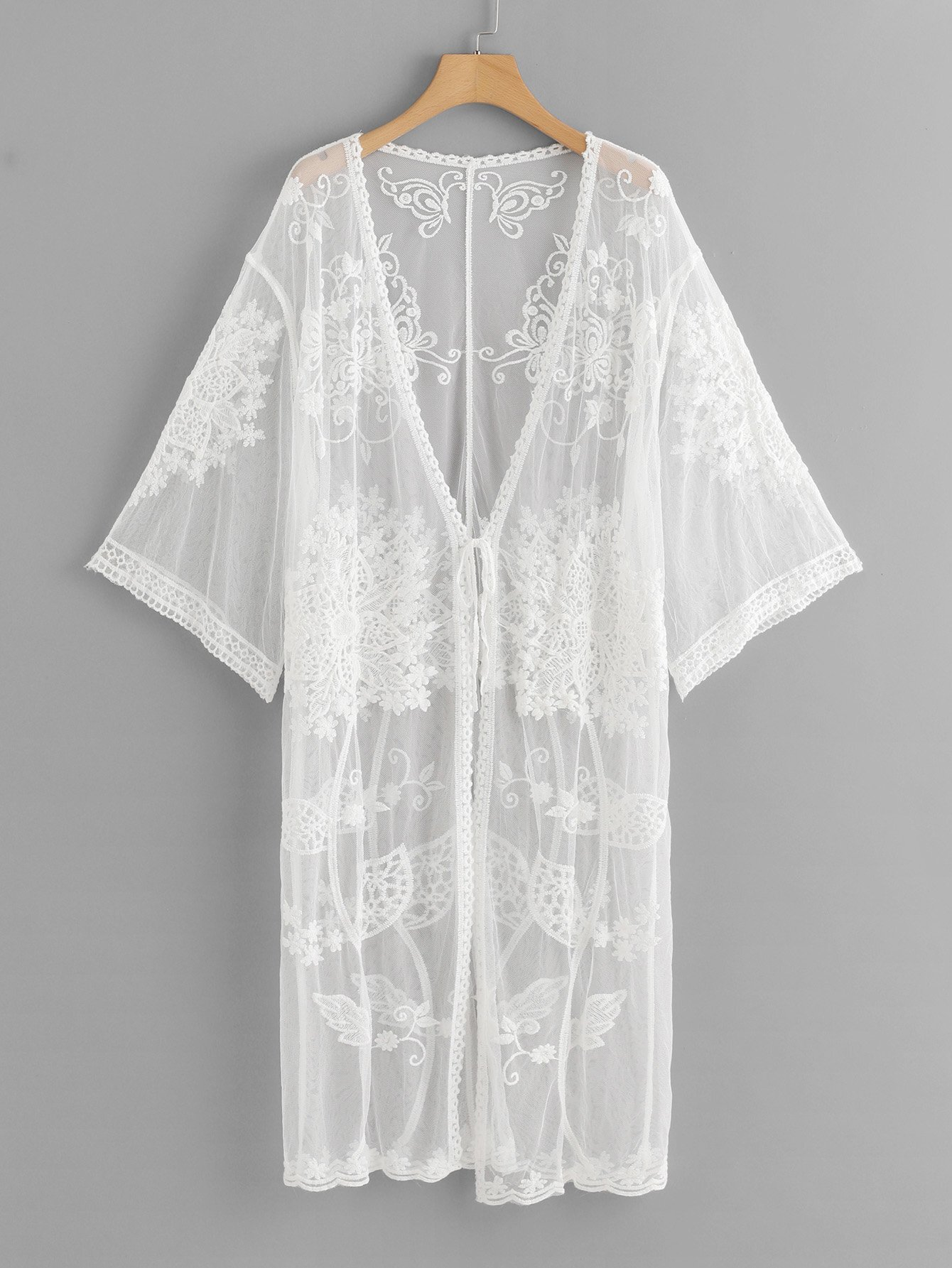Lace Floral Embroidery Sheer Mesh Panel Kimono slit side asymmetrical hem embroidery mesh kimono