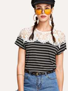 Lace Panel Striped Tee