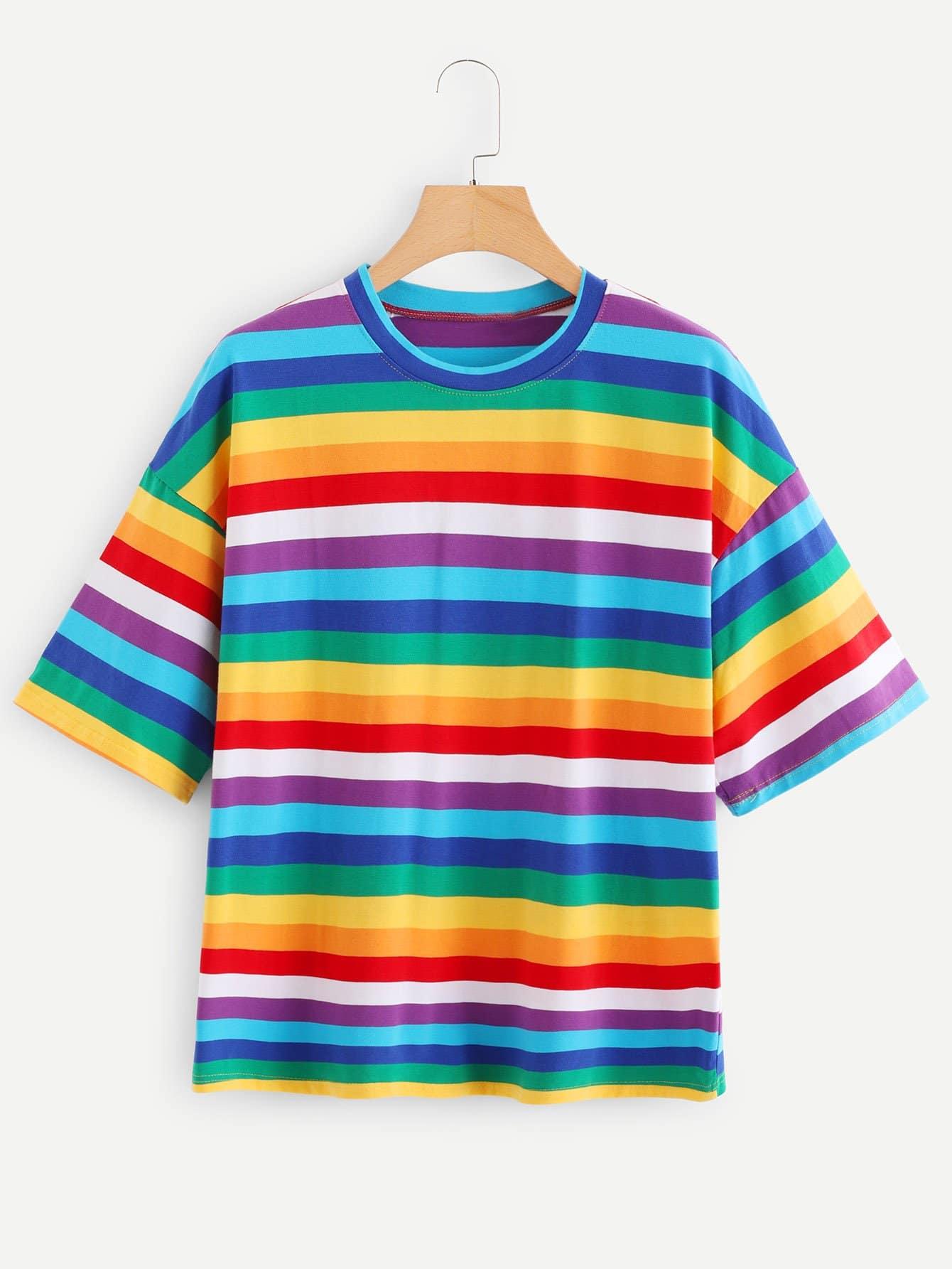 Rainbow Striped Tee men rainbow striped tee