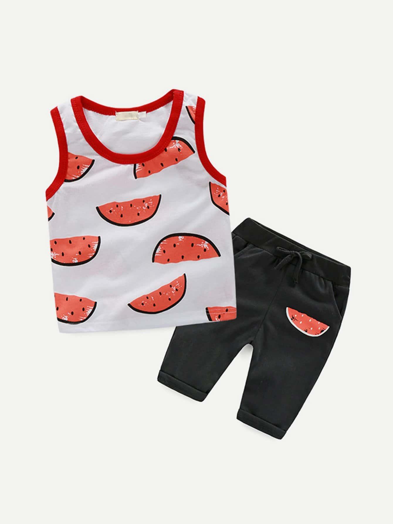 Boys Watermelon Print Top With Pants boys star print top with pants