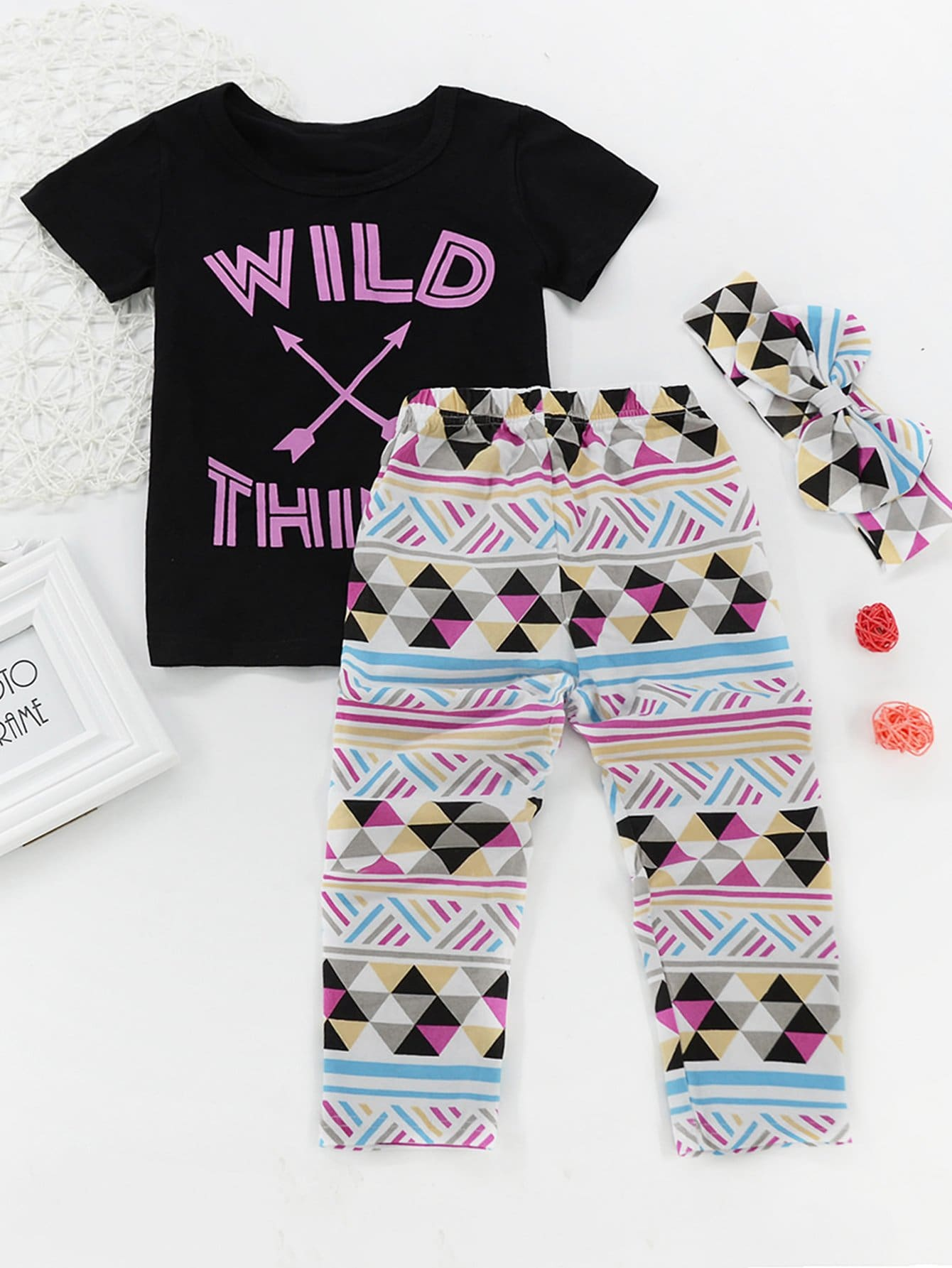Girls Letter Print Top With Pants letter print galaxy top