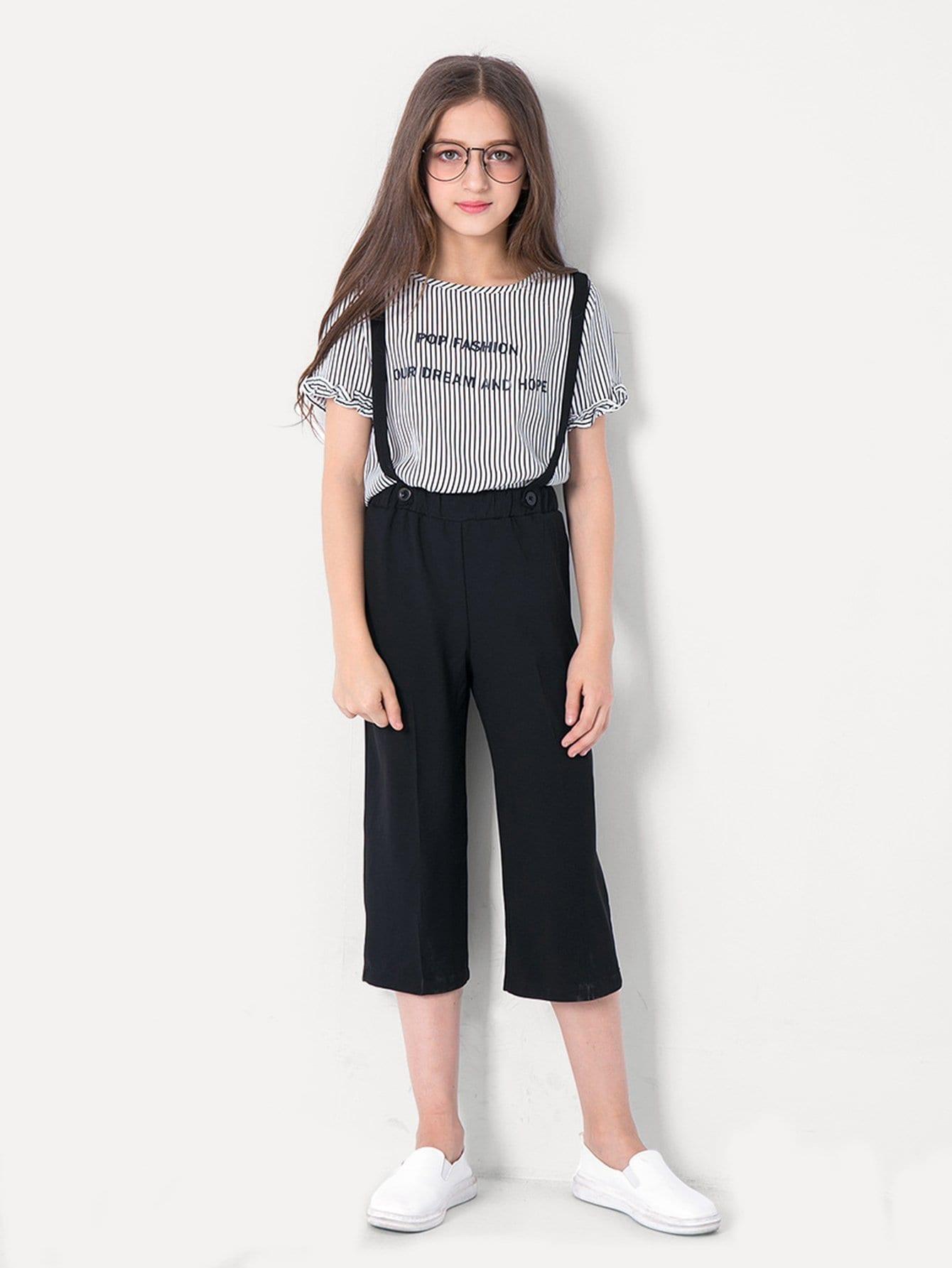 Топ с полосками и надписью и брюки для девочек от SheIn