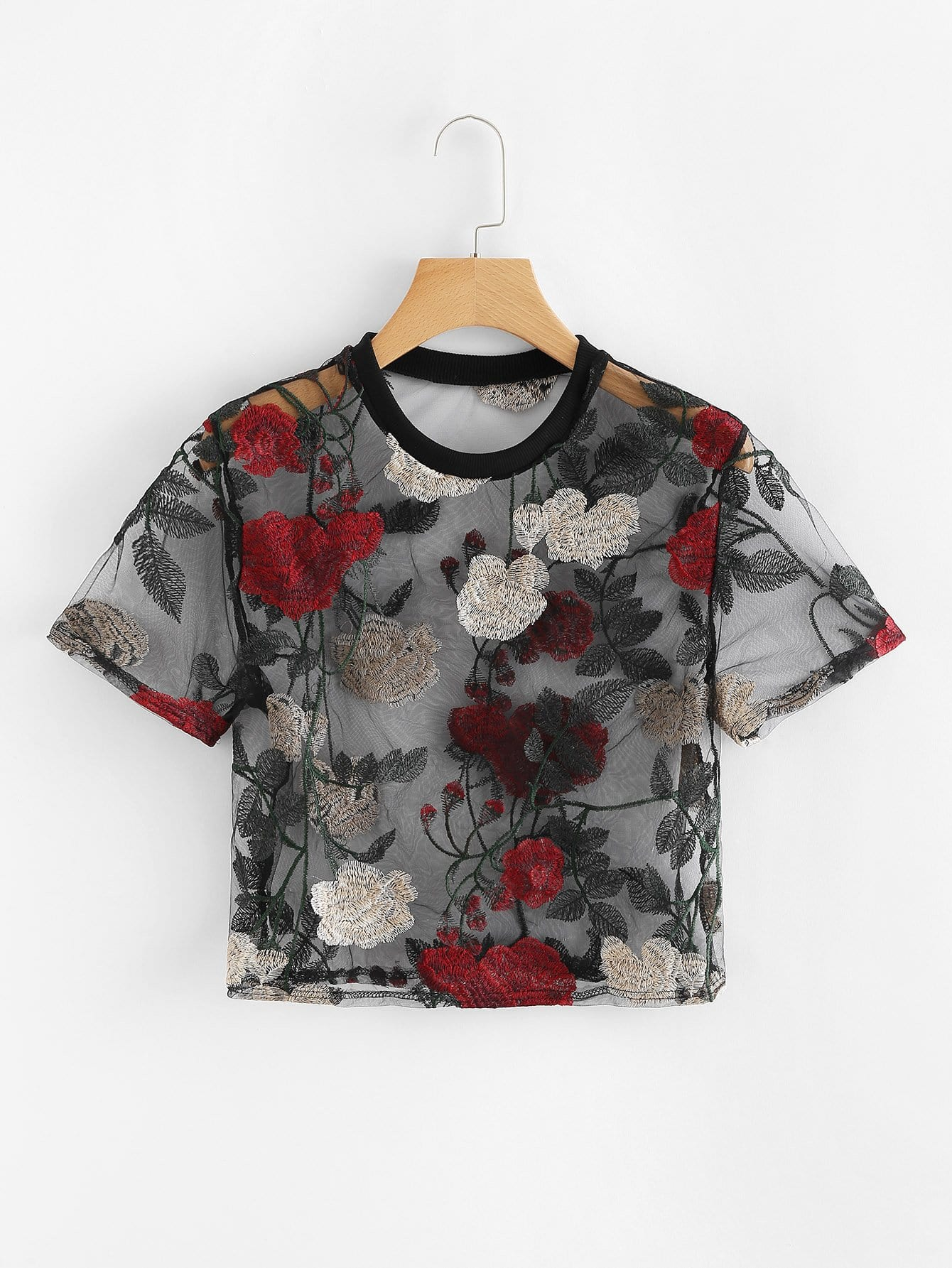 Sheer Mesh Floral Embroidered Crop Top embroidered flower mesh crop top