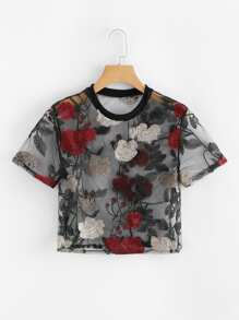 Sheer Mesh Floral Embroidered Crop Top