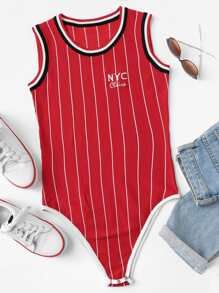 Letter Embroidered Striped Bodysuit