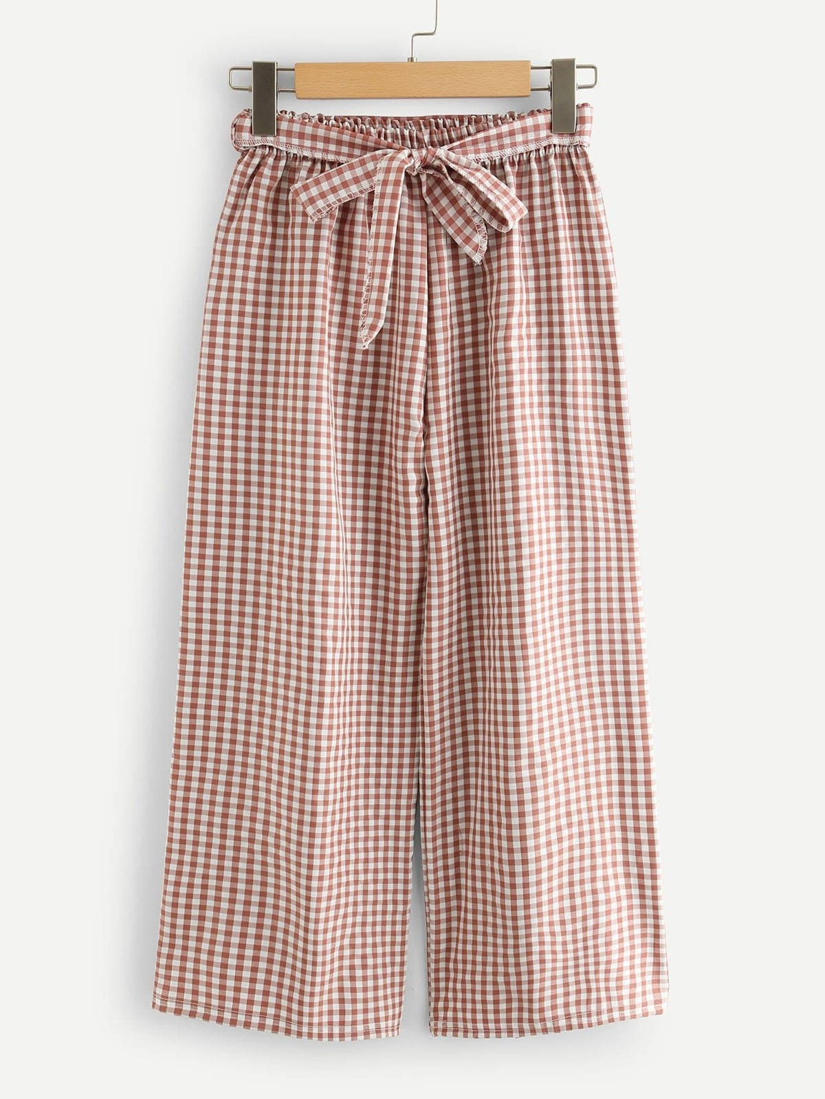 Self Tie Waist Checked Wide Leg Pants by Romwe