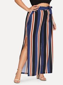 Plus Striped Split Wide Leg Pants