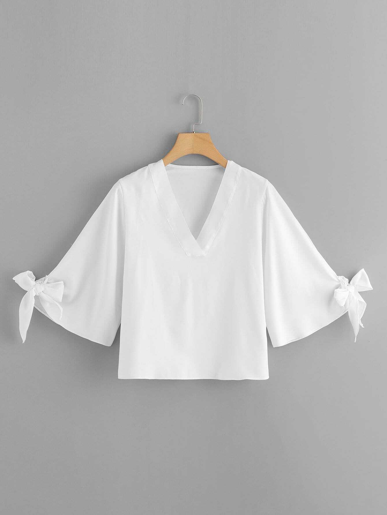 Knot Cuff Kimono Sleeve Top цена и фото