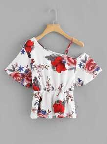 One Shoulder Floral Print Blouse