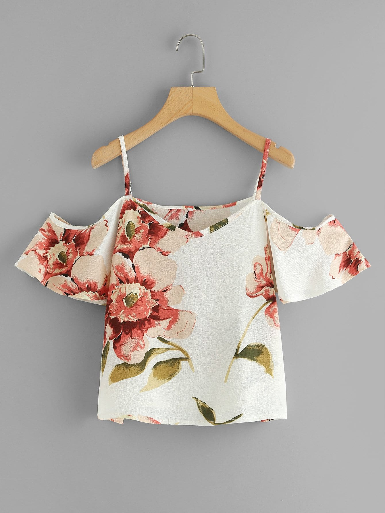 Floral Print Cold Shoulder Top cactus print cold shoulder top