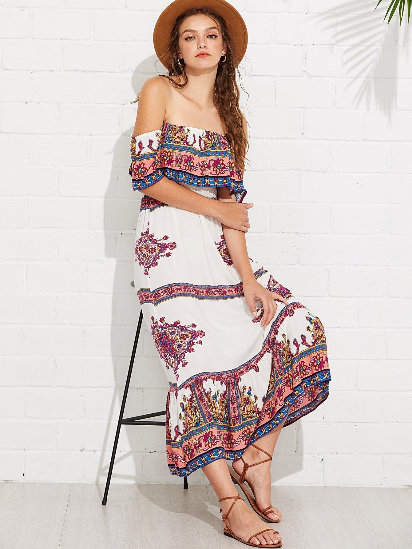 Off Shoulder Floral Printed Dress sweet off the shoulder floral dress for women
