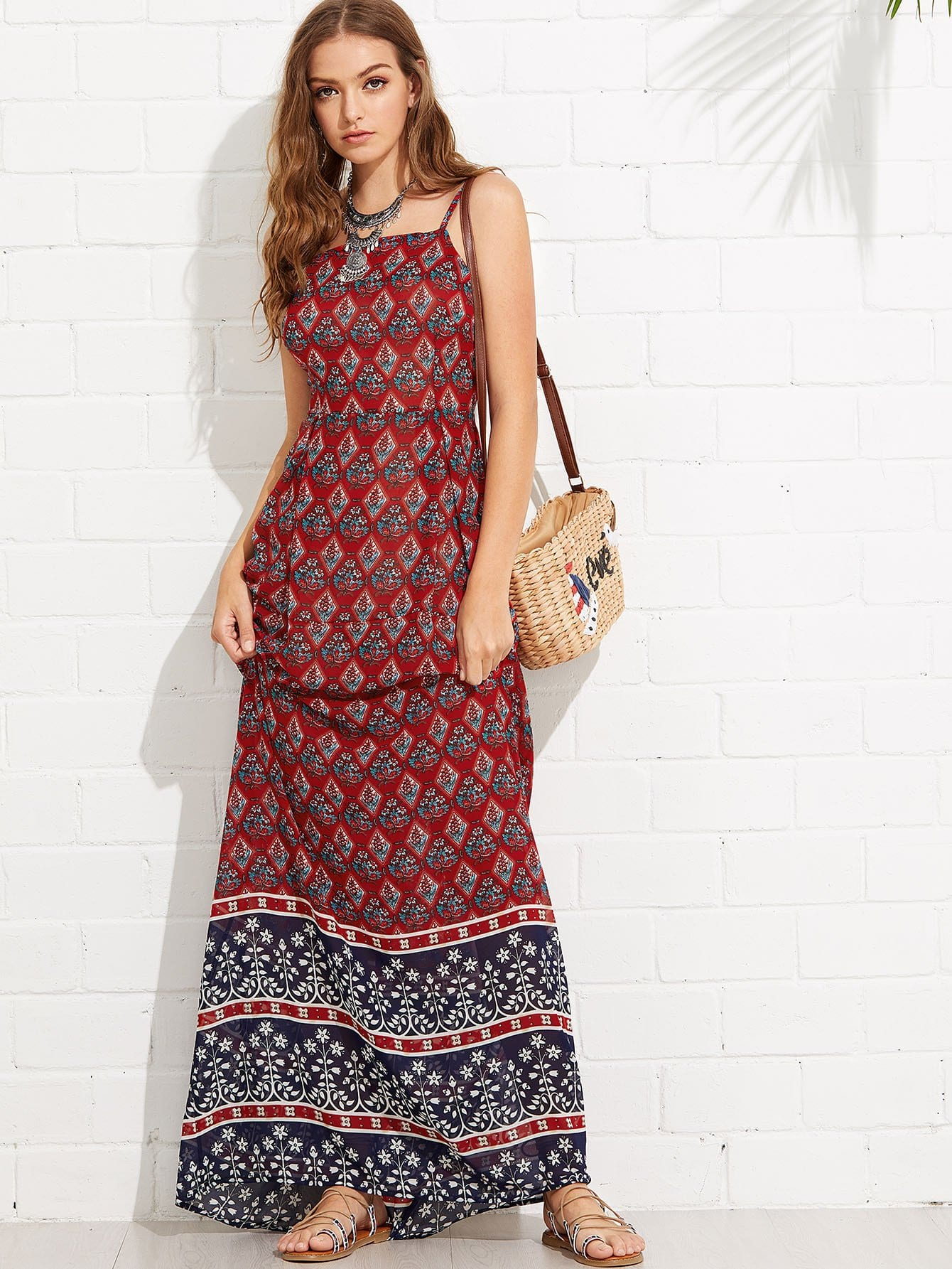 Geo Print Maxi Cami Dress geo print cami with pants