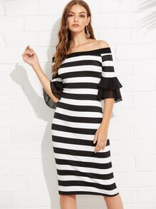 Striped Tiered Mesh Sleeve Off Shoulder Dress