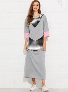 Contrast Striped Panel Dress