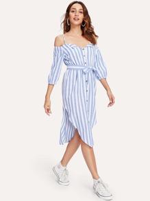 Open Shoulder Tie Waist Asymmetrical Hem Striped Dress
