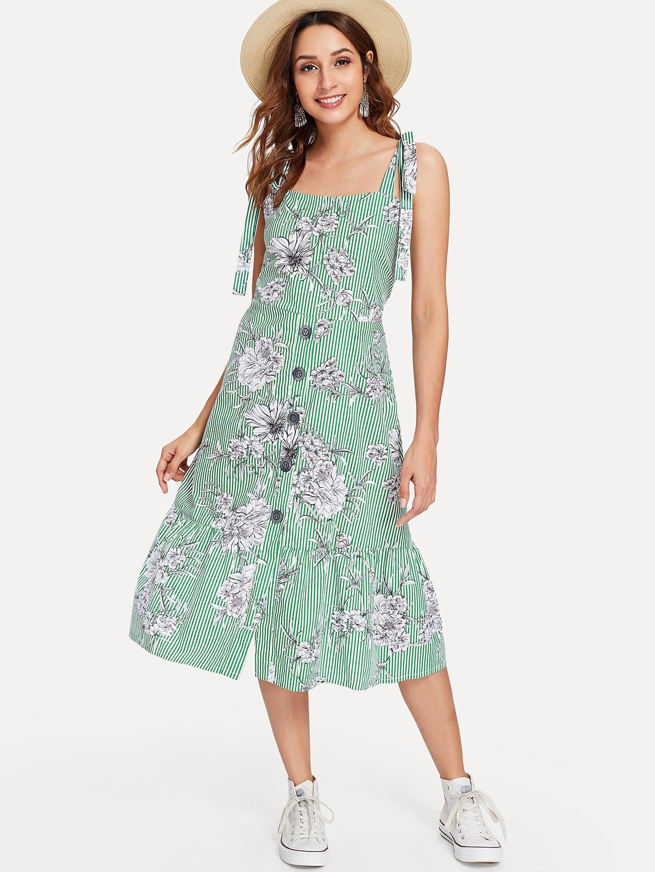 Купить Платье с полосками в цветочек, Gabi B, SheIn