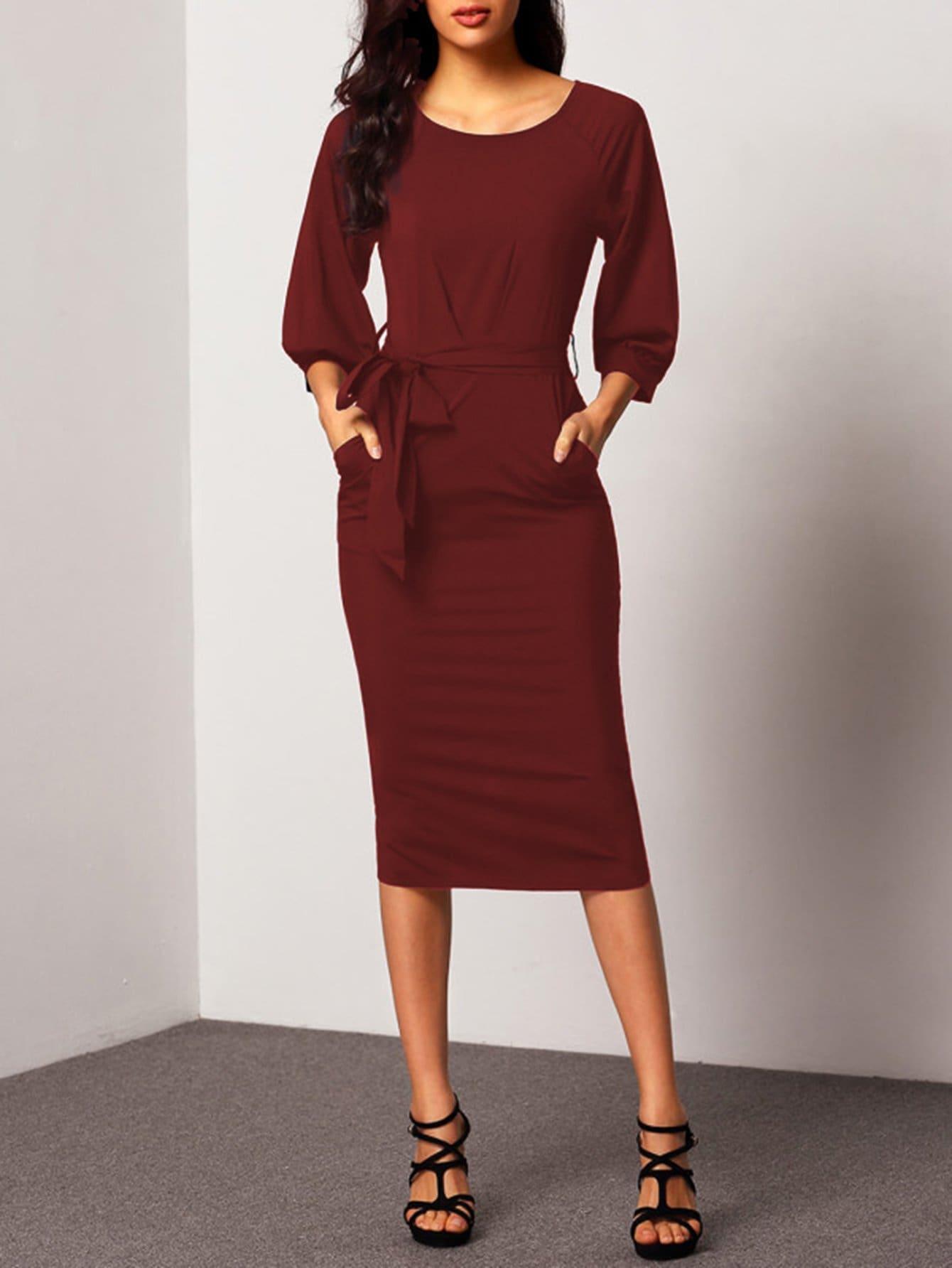 Self Tie Waist Bishop Sleeve Dress bishop sleeve tropical print dress