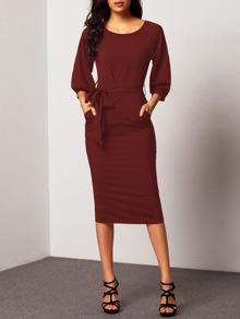 Self Tie Waist Bishop Sleeve Dress